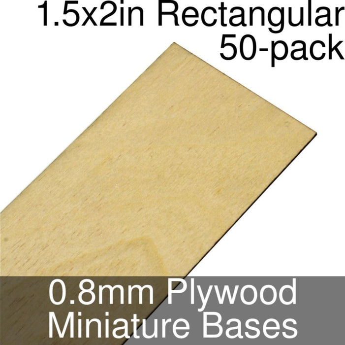 Miniature Bases, Rectangular, 1.5x2inch, 0.8mm Plywood (50) - LITKO Game Accessories