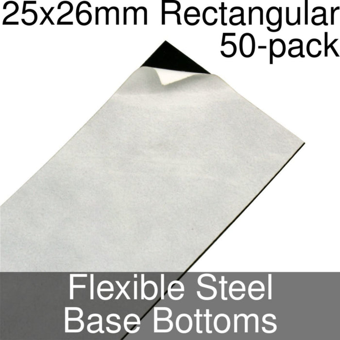 Miniature Base Bottoms, Rectangular, 25x26mm, Flexible Steel (50) - LITKO Game Accessories
