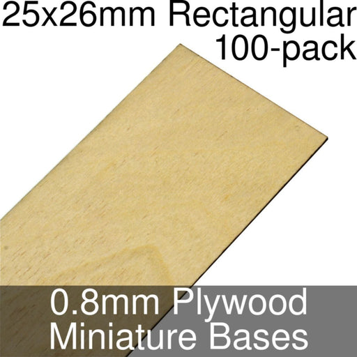 Miniature Bases, Rectangular, 25x26mm, 0.8mm Plywood (100) - LITKO Game Accessories