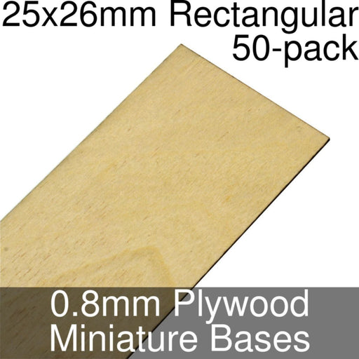 Miniature Bases, Rectangular, 25x26mm, 0.8mm Plywood (50) - LITKO Game Accessories