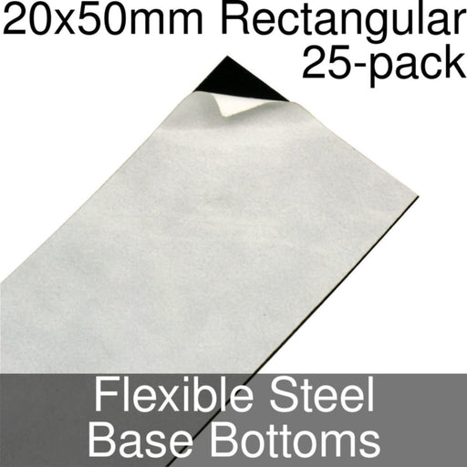 Miniature Base Bottoms, Rectangular, 20x50mm, Flexible Steel (25) - LITKO Game Accessories