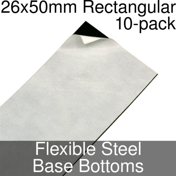 Miniature Base Bottoms, Rectangular, 26x50mm, Flexible Steel (10) - LITKO Game Accessories