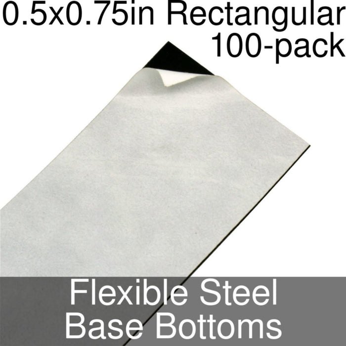 Miniature Base Bottoms, Rectangular, 0.5x0.75inch, Flexible Steel (100) - LITKO Game Accessories