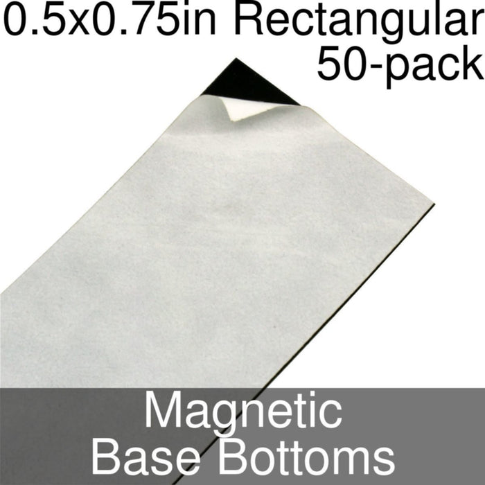Miniature Base Bottoms, Rectangular, 0.5x0.75inch, Magnet (50) - LITKO Game Accessories