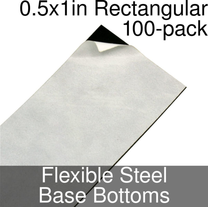 Miniature Base Bottoms, Rectangular, 0.5x1inch, Flexible Steel (100) - LITKO Game Accessories
