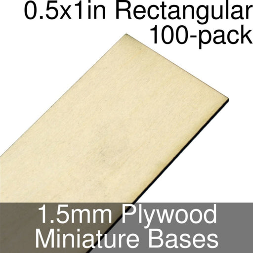 Miniature Bases, Rectangular, 0.5x1inch, 1.5mm Plywood (100) - LITKO Game Accessories