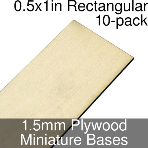 Miniature Bases, Rectangular, 0.5x1inch, 1.5mm Plywood (10) - LITKO Game Accessories