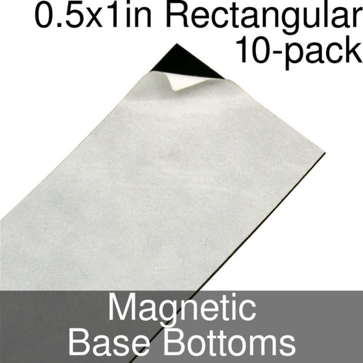 Miniature Base Bottoms, Rectangular, 0.5x1inch, Magnet (10) - LITKO Game Accessories