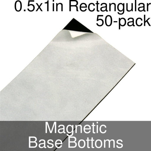 Miniature Base Bottoms, Rectangular, 0.5x1inch, Magnet (50) - LITKO Game Accessories