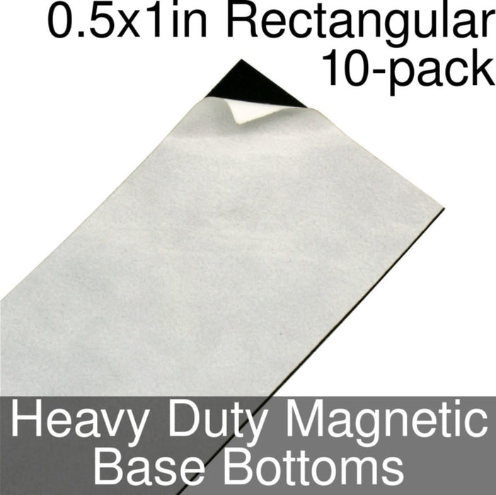 Miniature Base Bottoms, Rectangular, 0.5x1inch, Heavy Duty Magnet (10) - LITKO Game Accessories