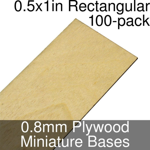 Miniature Bases, Rectangular, 0.5x1inch, 0.8mm Plywood (100) - LITKO Game Accessories