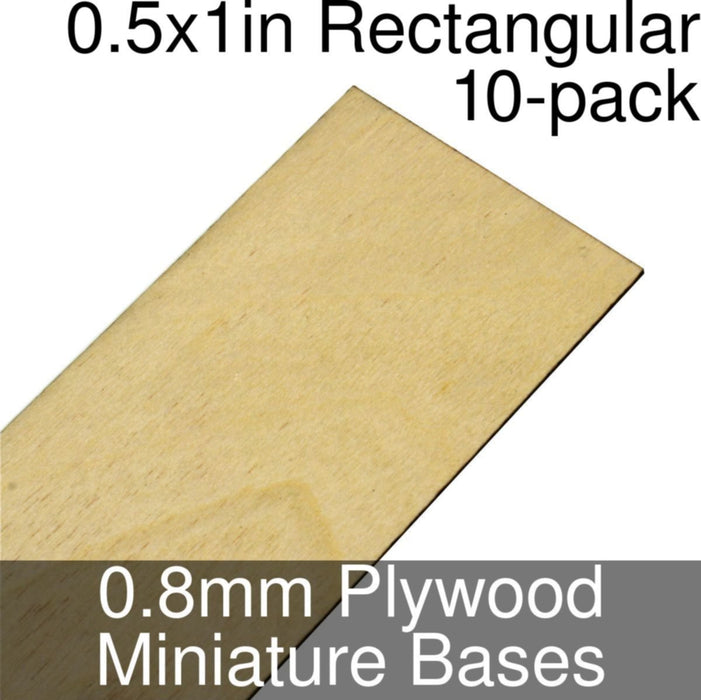 Miniature Bases, Rectangular, 0.5x1inch, 0.8mm Plywood (10) - LITKO Game Accessories