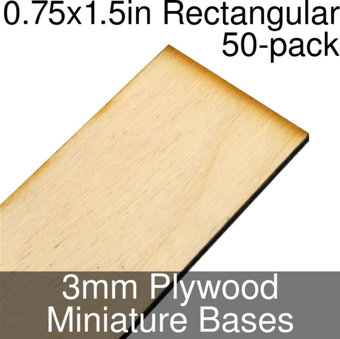 Miniature Bases, Rectangular, 0.75x1.5inch, 3mm Plywood (50) - LITKO Game Accessories