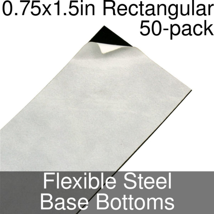 Miniature Base Bottoms, Rectangular, 0.75x1.5inch, Flexible Steel (50) - LITKO Game Accessories