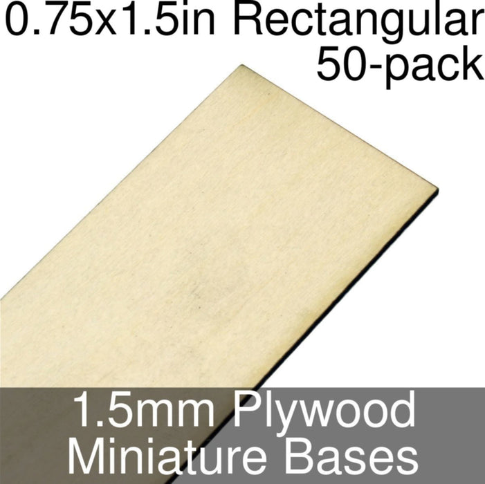 Miniature Bases, Rectangular, 0.75x1.5inch, 1.5mm Plywood (50) - LITKO Game Accessories