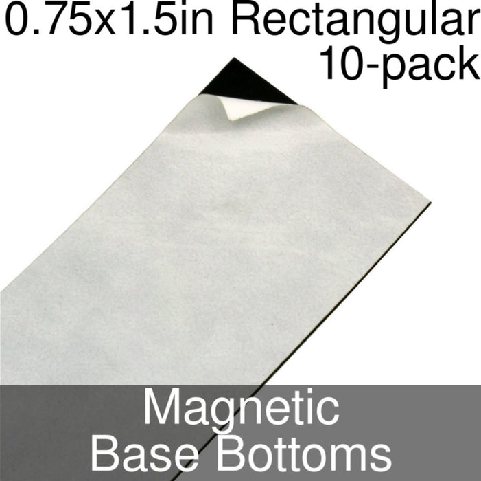 Miniature Base Bottoms, Rectangular, 0.75x1.5inch, Magnet (10) - LITKO Game Accessories