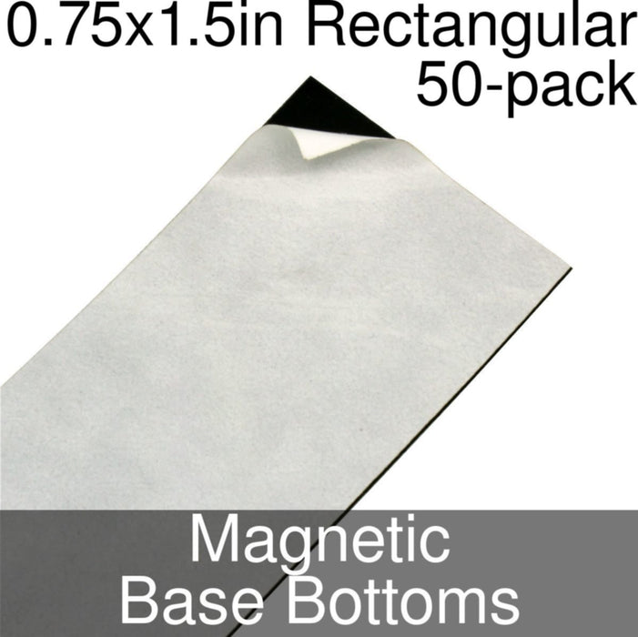 Miniature Base Bottoms, Rectangular, 0.75x1.5inch, Magnet (50) - LITKO Game Accessories