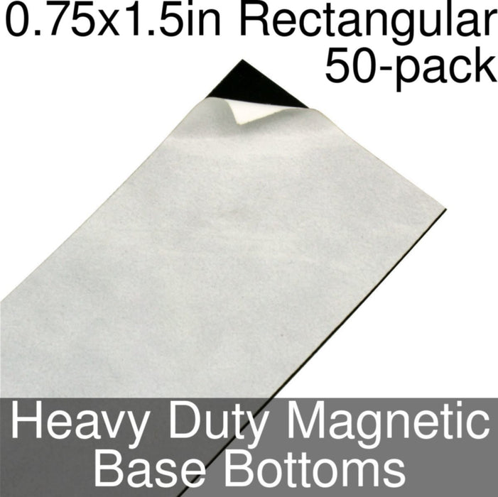 Miniature Base Bottoms, Rectangular, 0.75x1.5inch, Heavy Duty Magnet (50) - LITKO Game Accessories