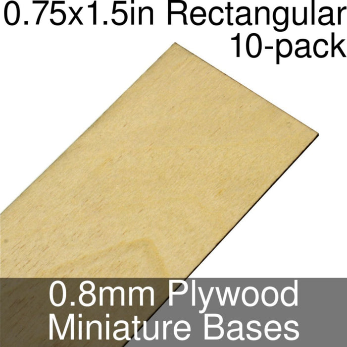 Miniature Bases, Rectangular, 0.75x1.5inch, 0.8mm Plywood (10) - LITKO Game Accessories