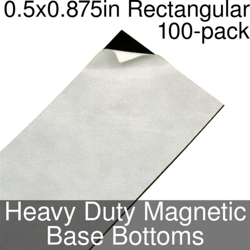 Miniature Base Bottoms, Rectangular, 0.5x0.875inch, Heavy Duty Magnet (100) - LITKO Game Accessories