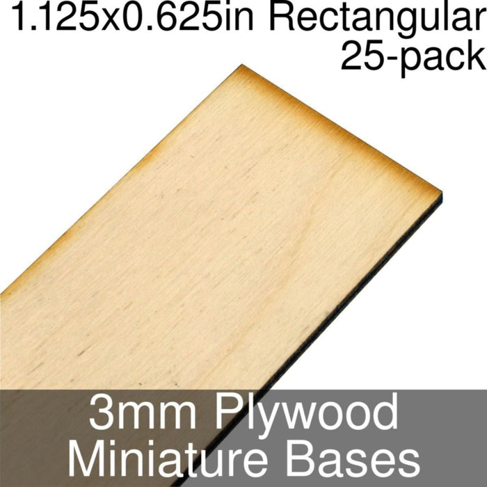 Miniature Bases, Rectangular, 1.125x0.625inch, 3mm Plywood (25) - LITKO Game Accessories