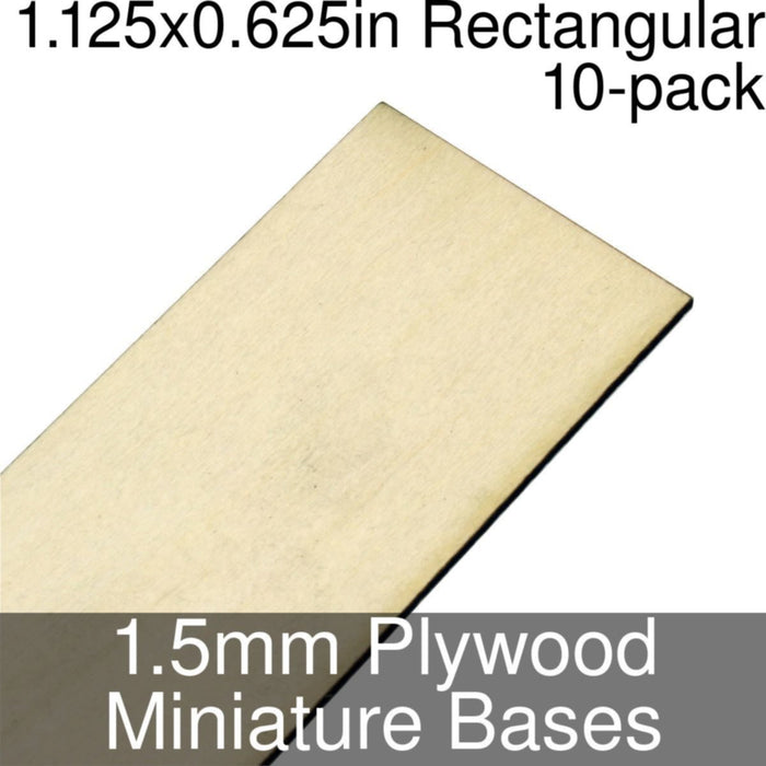 Miniature Bases, Rectangular, 1.125x0.625inch, 1.5mm Plywood (10) - LITKO Game Accessories