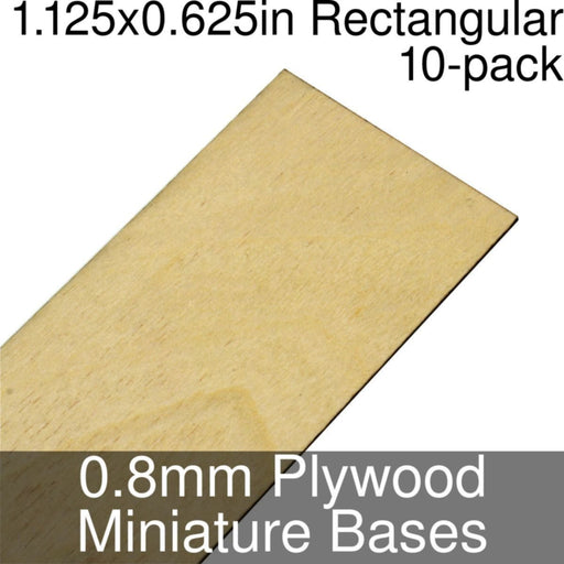 Miniature Bases, Rectangular, 1.125x0.625inch, 0.8mm Plywood (10) - LITKO Game Accessories
