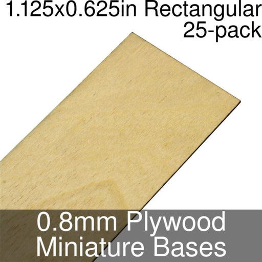 Miniature Bases, Rectangular, 1.125x0.625inch, 0.8mm Plywood (25) - LITKO Game Accessories