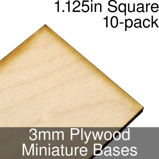 Miniature Bases, Square, 1.125inch, 3mm Plywood (10) - LITKO Game Accessories