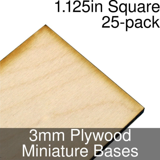 Miniature Bases, Square, 1.125inch, 3mm Plywood (25) - LITKO Game Accessories