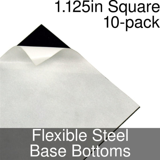 Miniature Base Bottoms, Square, 1.125inch, Flexible Steel (10) - LITKO Game Accessories