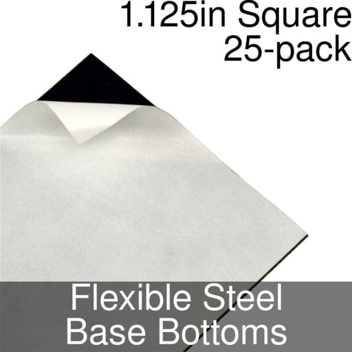 Miniature Base Bottoms, Square, 1.125inch, Flexible Steel (25) - LITKO Game Accessories