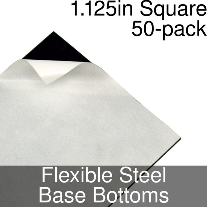 Miniature Base Bottoms, Square, 1.125inch, Flexible Steel (50) - LITKO Game Accessories