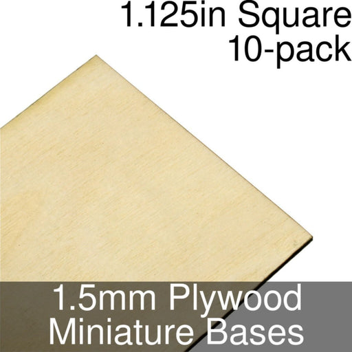 Miniature Bases, Square, 1.125inch, 1.5mm Plywood (10) - LITKO Game Accessories
