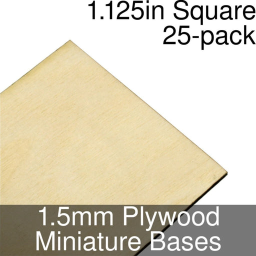 Miniature Bases, Square, 1.125inch, 1.5mm Plywood (25) - LITKO Game Accessories