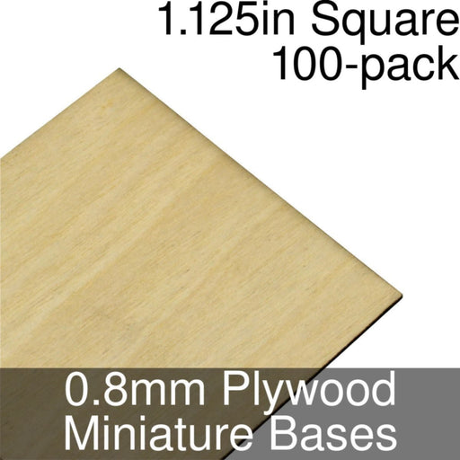 Miniature Bases, Square, 1.125inch, 0.8mm Plywood (100) - LITKO Game Accessories