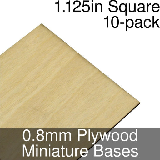 Miniature Bases, Square, 1.125inch, 0.8mm Plywood (10) - LITKO Game Accessories