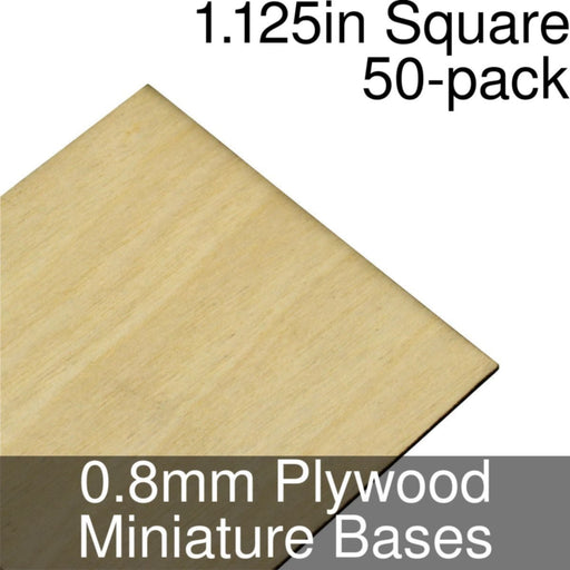 Miniature Bases, Square, 1.125inch, 0.8mm Plywood (50) - LITKO Game Accessories