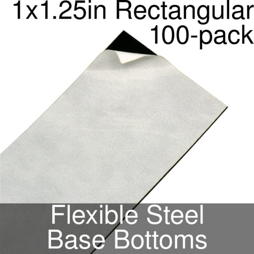 Miniature Base Bottoms, Rectangular, 1x1.25inch, Flexible Steel (100) - LITKO Game Accessories