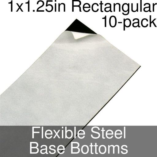 Miniature Base Bottoms, Rectangular, 1x1.25inch, Flexible Steel (10) - LITKO Game Accessories