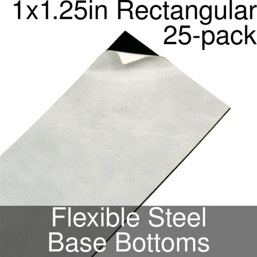 Miniature Base Bottoms, Rectangular, 1x1.25inch, Flexible Steel (25) - LITKO Game Accessories