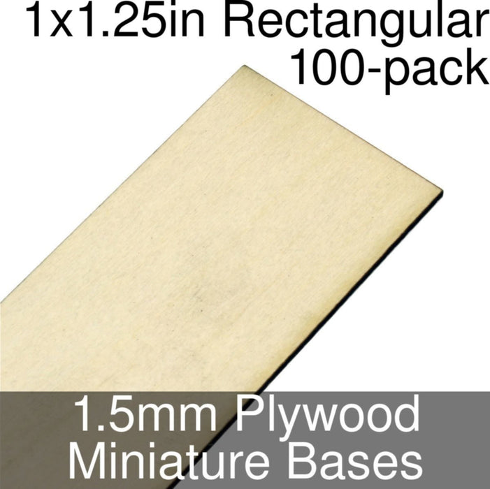 Miniature Bases, Rectangular, 1x1.25inch, 1.5mm Plywood (100) - LITKO Game Accessories