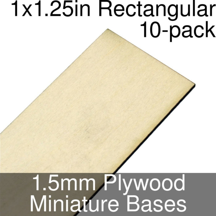 Miniature Bases, Rectangular, 1x1.25inch, 1.5mm Plywood (10) - LITKO Game Accessories