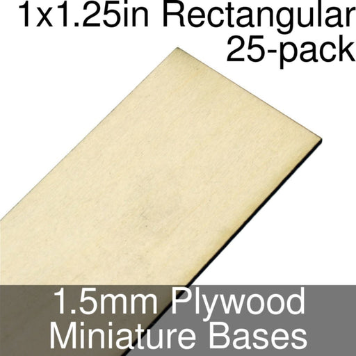 Miniature Bases, Rectangular, 1x1.25inch, 1.5mm Plywood (25) - LITKO Game Accessories
