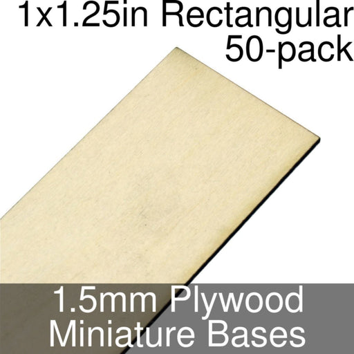 Miniature Bases, Rectangular, 1x1.25inch, 1.5mm Plywood (50) - LITKO Game Accessories
