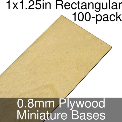 Miniature Bases, Rectangular, 1x1.25inch, 0.8mm Plywood (100) - LITKO Game Accessories