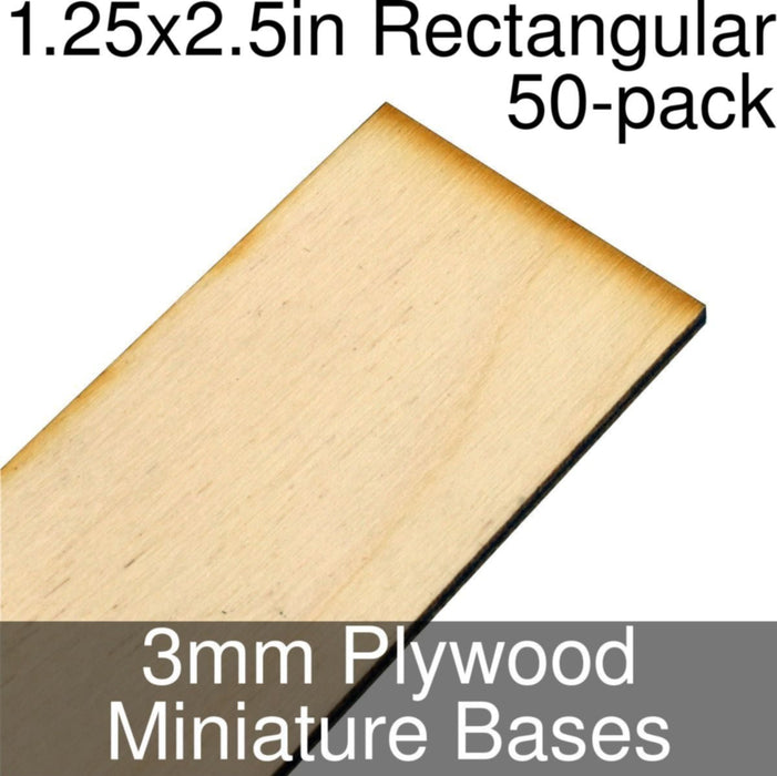 Miniature Bases, Rectangular, 1.25x2.5inch, 3mm Plywood (50) - LITKO Game Accessories