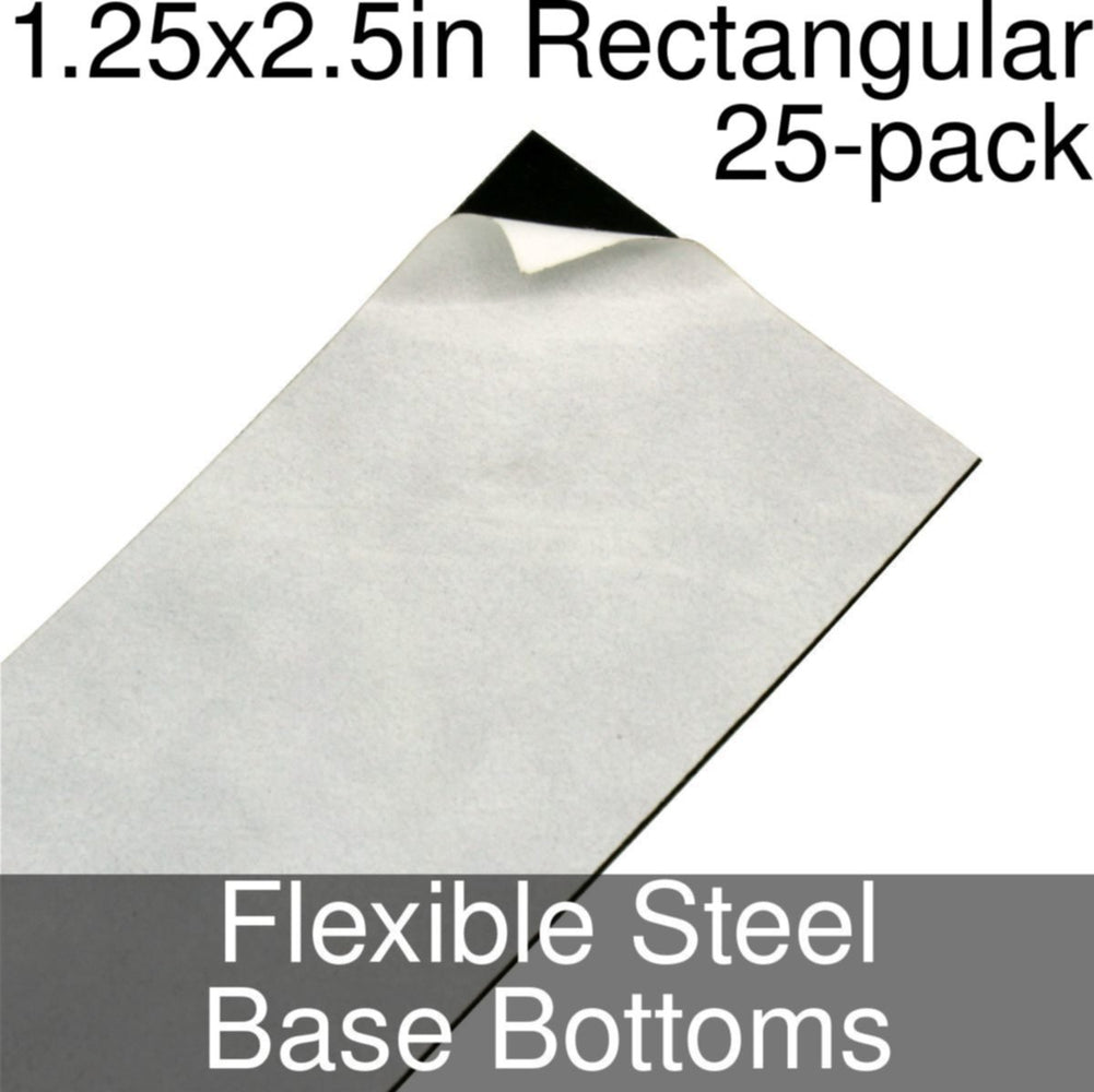 Miniature Base Bottoms, Rectangular, 1.25x2.5inch, Flexible Steel (25) - LITKO Game Accessories