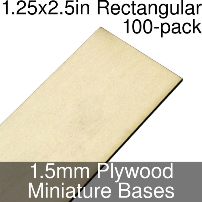Miniature Bases, Rectangular, 1.25x2.5inch, 1.5mm Plywood (100) - LITKO Game Accessories