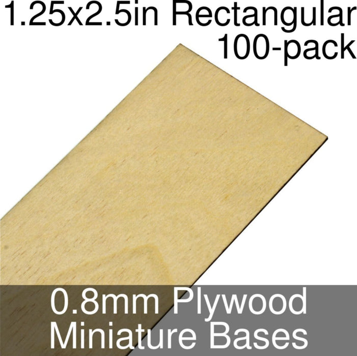 Miniature Bases, Rectangular, 1.25x2.5inch, 0.8mm Plywood (100) - LITKO Game Accessories